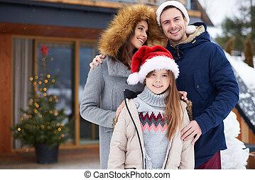 recurso, vacaciones, invierno, turista
