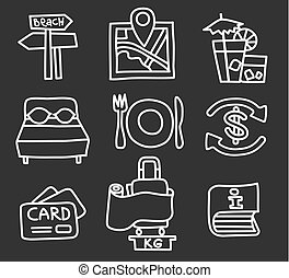recurso, viaje ícones