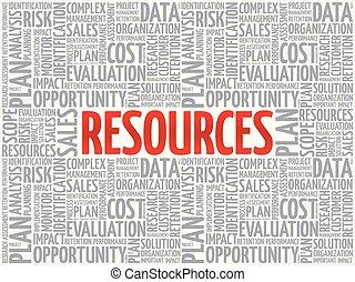 recursos, concepto, en, palabra, etiqueta, nube