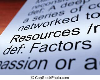 recursos, definición, primer plano, actuación, materiales,...