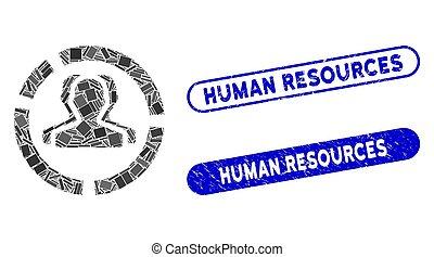 recursos, humano, mosaico, diagrama, demography, textured, ...
