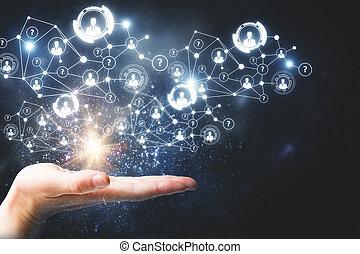 recursos humanos, e, tecnologia, conceito