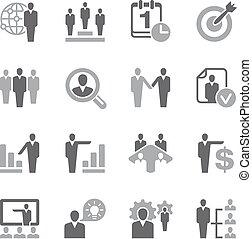 recursos humanos, icono, conjunto