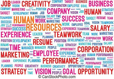 recursos humanos, palavra, nuvem