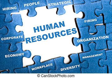 recursos humanos, quebra-cabeça
