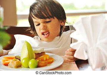 recusar, alimento, querer, não, comer, criança