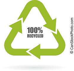 recyclé, 100, flèches, signe