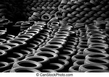recyclé, attitude, recyclage, tas, tires.