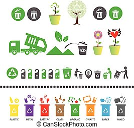 recycl bak, boompje, restafval