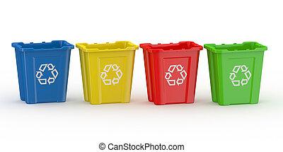 recycl bak, met, meldingsbord, van, recycling., soort, door, materiaal