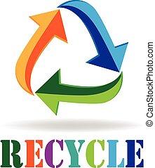 recycl logo, pijl