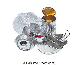 recyclable , σκουπίδια , απομονωμένος , αναμμένος αγαθός ,...