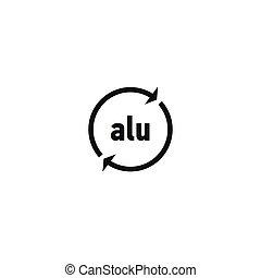 Recyclable aluminium symbol on white background
