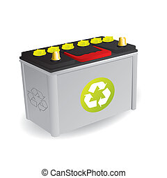Recyclable car battery with green sign isolated