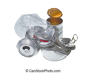 recyclable, fond blanc, isolé, déchets