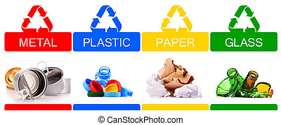 Recyclable garbage consisting of glass, plastic, metal and ...