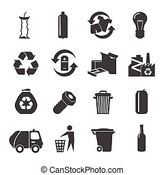 Recyclable materials black white icons set with glass plastic metal and food waste flat isolated vector illustration