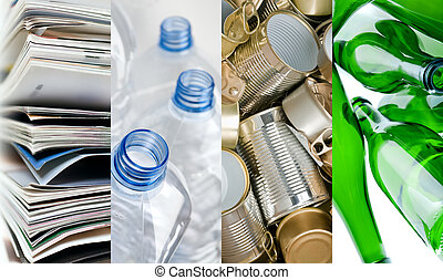 Recyclable materials paper metals plastic and glass bottles in four frames