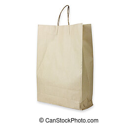 Recyclable paper bag on white background