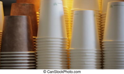 Recyclable Paper Cups - Panning shot of paper coffee cups...