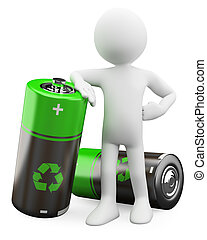 recyclable, piles, 3d, -, homme
