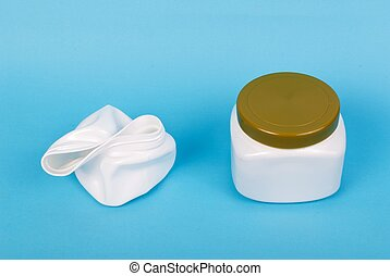 recyclable plastic box on blue background
