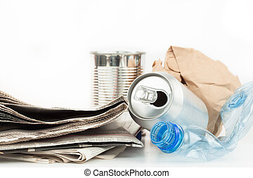 Recyclable rubbish on white background