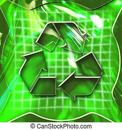 recyclage, activé, icône