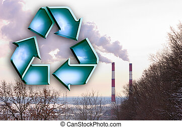 recyclage, cheminée, tiges, signe