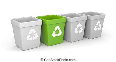 recyclage, coloré, casiers
