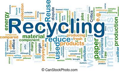 recyclage, concept, fond, matériels