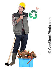 recyclage, constructeur, gaspillage
