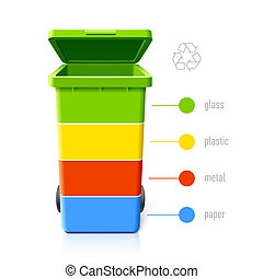 recyclage, couleurs, infographic, casiers