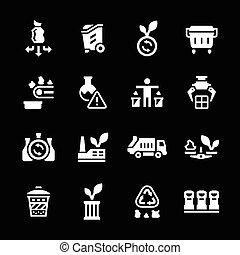 recyclage, ensemble, icônes