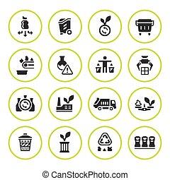 recyclage, ensemble, rond, icônes