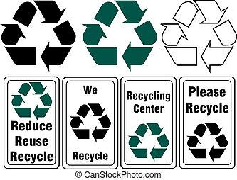 recyclage, images, ensemble, signes