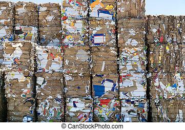 recyclage, papier, cubes