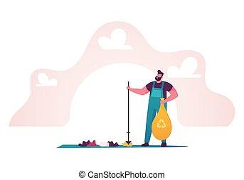 recyclage, planète, nettoyage, vecteur, concept., enlever, jour, mondiale, caractère, gens, ground., surface., mâle, protection, dessin animé, illustration, homme, environnement, biodiversity., la terre, économie, écologie, déchets ménagers