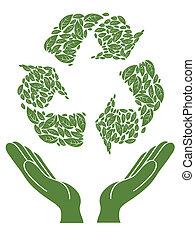 recyclage, signe, au-dessus, main