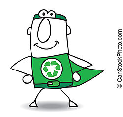 recyclage, superhero, dos, venir