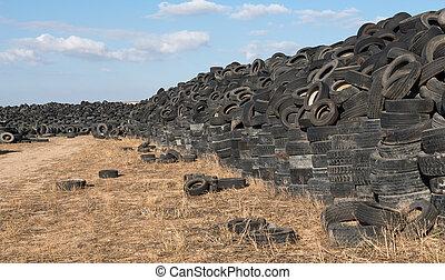 recyclage, utilisé, pneus, yard