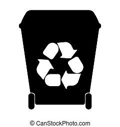 recyclage, vecteur, gaspillage, sorting., grand, récipients, illustration.