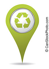 recyclage, vert, emplacement, icône