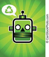 recyclage, vert, retro, robot