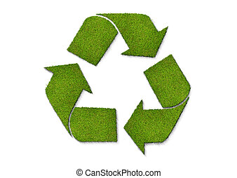 Recycle - A recycling sign made of grass. View close up to...