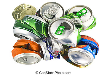 recycle aluminum cans on white