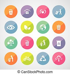 recycle and environment vector icon set