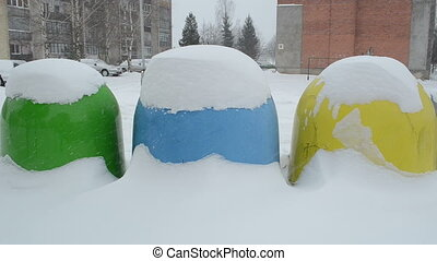 recycle bin blizzard snow - colorful recycle waste...