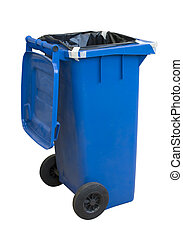 Blue plastic recycle bin isolated over white