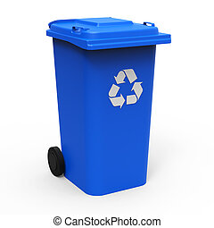 Recycle bin - Blue recycle bin isolated on white background...